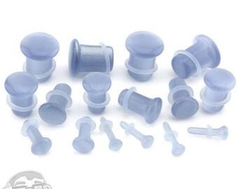 "Grey Cat's Eye Glass Single Flare Plugs - Sizes / Gauges (8G - 1/2"" Inch)"
