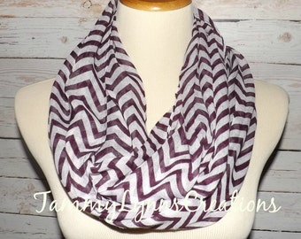 PURPLE & WHITE Chevron Lightweight Viscose Infinity Scarf Women's Accessories