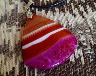 311- Multi Color Teardrop Agate Pendant Necklace-OrangeTeardrop Agate Pendant Necklace-Purple Agate Pendant Necklace-Red Agate Necklace