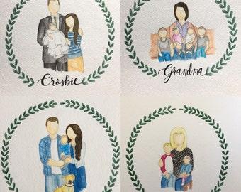 Custom Watercolor Family Portrait, Hand Drawn Portait, Custom Portait - 8x10