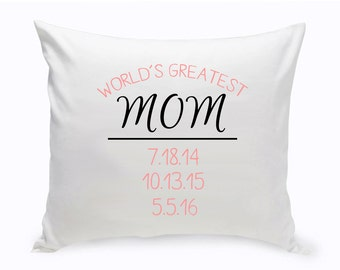 Personalized Throw Pillow for Mom - World's Greatest Mom Pillow - Mother's Day Gifts - Gifts for Mom - Gifts for Her - Mom Gift - GC1456 MOM