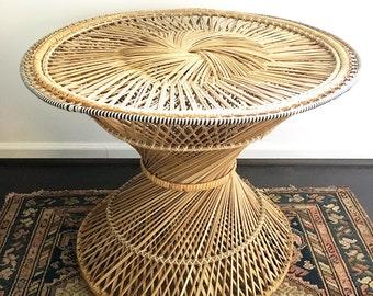 Boho Vintage Wicker Table