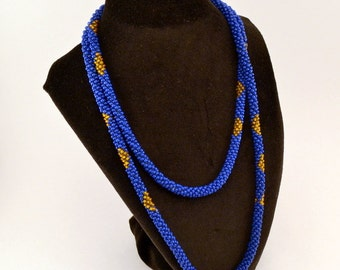 Vintage Long Blue and gold seed bead necklace