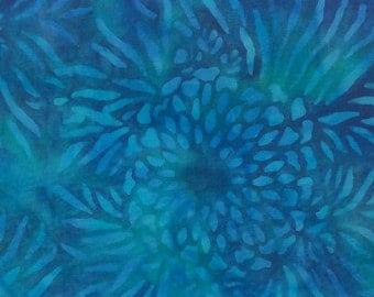 Open Floral Batik Fabric - Artisan Indonesian from Majestic Batiks - D 248 Blue, Priced by the 1/2 yard