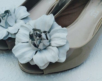 White Flowers Shoe Clips Leather  Flowers Clips Decoration For Shoes  Women Accessories Wedding Bridal Casual Formal Decoration