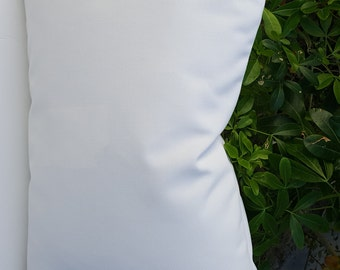 Sunbrella Solid White Indoor Outdoor Pillow / Lumbar / Bolster Cover with Hidden Zipper