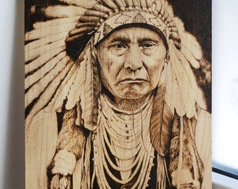 Native american portrait pyrography/ woodburning handmade