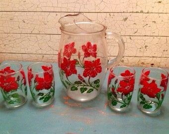 Juice Pitcher Glasses Set Floral 1950's