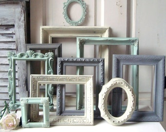 Mint Green and Gray Painted Picture Frames Made to ORDER Set of 10 Vintage Frames  Sea Glass Green  Grey and Ivory Frames  Ornate Frames