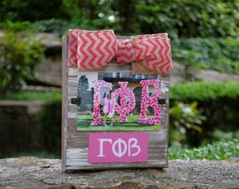 Gamma Phi Beta Whitewashed Rustic Frame With Greek Letters