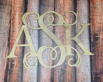 Wooden Monogram Wall Hanging, Classic Combo Monogram, Wooden Monogra, Wall Art, Nursery Decor, All Sizes, Initial Monogram, Wedding Decor