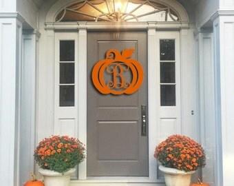 Wooden Pumpkin Monogram, Door Hanger, Monogram Door Wreath, Fall Decor, Happy Y'all, Thanksgiving Decor, Wooden Initials, Wooden Letters