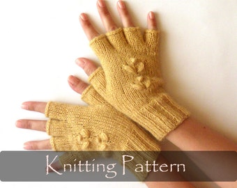 Knitting Patterns For Fingerless Gloves With Mitten Cover : Instant Download PDF Knitting Pattern Cabled Fingerless