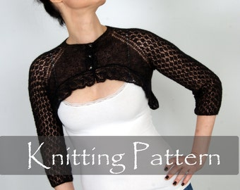 KNITTING PATTERN - Cobweb Knit Shrug Lace Bolero Wedding Wrap Sleeves Bridal Shrug Knit Pattern Lacy Knit Tutorial Women Cardigan PDF  P0064