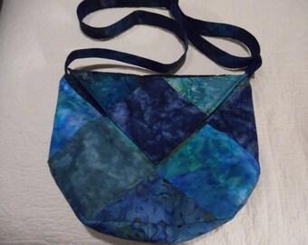 Batik Cross Body Bag / Batik Purse / Large Hobo Bag / Hobo Purse / Blue Purse