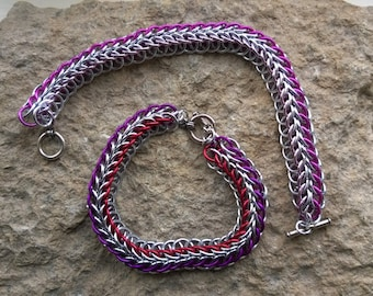 Half Persian 3-in-1 chainmaille bracelet 4 row - your choice of colours
