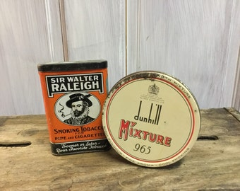 Two Vintage Tobacco Tins/Sir Walter Raleigh/Dunhill Mixture 965