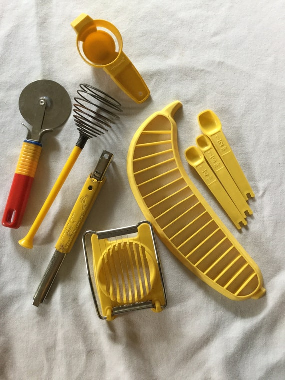 vintage yellow kitchen utensil collection mix lot of kitchen tools