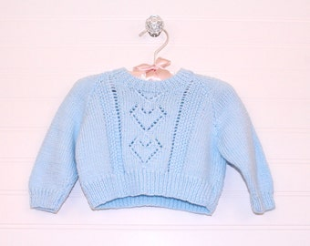 Vintage baby sweater, blue knit sweater, size about 0-3 months