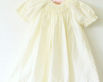 Vintage baby layette, yellow with smocking, Petit Ami sz 3 mo