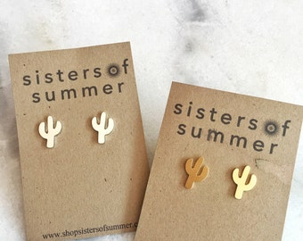 Desert Cactus Stud Earrings