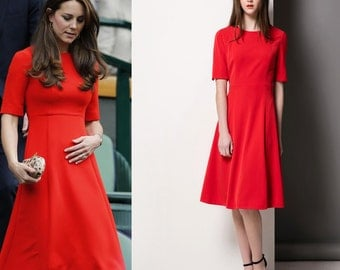 Red dress/ Kate Middleton/ Dress/ Midi dress/Custom made dress/Swing dress/ 50's dress/ vintage dress inspired/ All Sizes