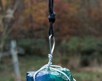 Alcohol ink dyed quartz crystal necklace adjustable size