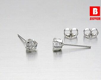 925 Sterling Silver Earrings, CZ Earrings, Cubic Zirconia Earrings, Stud Earrings, Size 4 mm (Code : EG46)