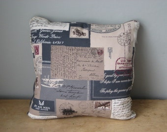 Retro 'Postage' Linen Weave hand-made cushion