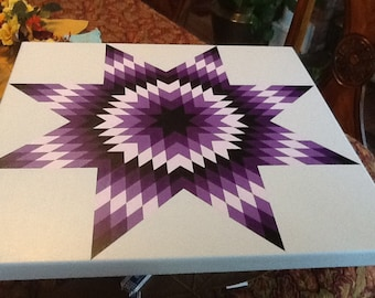 Beautiful star barn quilt done in graduate shades of purple or select your color