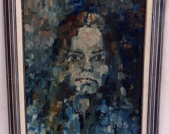Mid Century Abstract Art Painting Woman's Face Unsigned Masonite Board FREE SHIPPING
