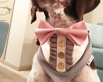 Tuxedo Pet Bandana - With Ruffles - Dog Bandana - Cat Bandana - Wedding Bandana - Dog Wedding Bandana - Best Dog - Pet Wedding Bandana