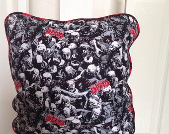 The Walking Dead Cushion Cover with Blood Splatter piping | Cushion Cover | Zombie Cushion | Home Decor