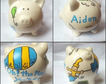 Oh! The Places You'll Go Inspired Piggy Bank Hand Painted