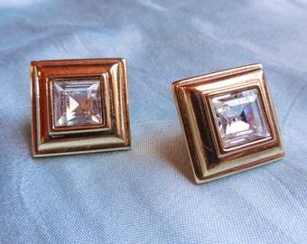 Vintage Monet Square Rhinestone Pierced Earrings ~ circa 1980s excellent condition