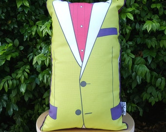 Rectangular cushion, lime green suit, eco, environmentally friendly materials, pink and blue, linen, contrasting, exposed zip, Australian