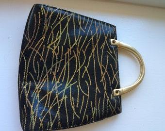 Vintage Margaret J (Jerrold) Leather and Gold  Evening Bag Handbag