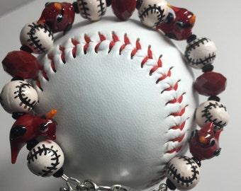 St Louis Cardinal Redbird Badeball Bracelet