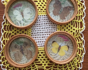 Vintage Butterfly Coasters set of 4