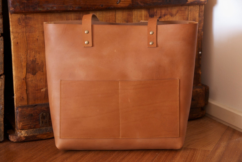 2c7745277e762 Camel Leather tote bag with double outside pocket. Cap Sa Sal
