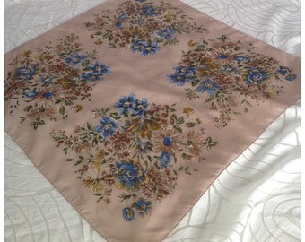 SALE! Vintage Beige & Blue Floral Scarf, Made from Terylene ICI Polyester