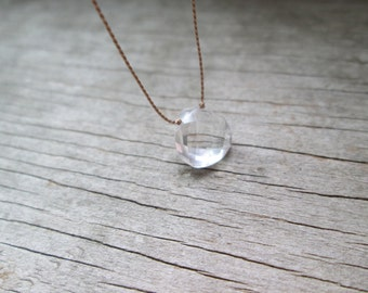 ROCK CRYSTAL floating stone necklace on a fine silk cord delicate gemstone necklace healing April birthstone