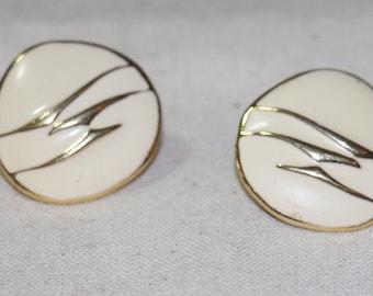 Vintage Trifari Gold Metal Cream Enamel Clip On Earrings