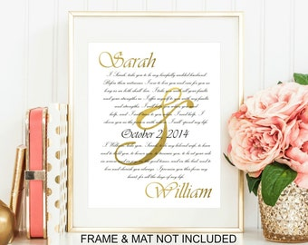 Custom Wedding Vows  Art Print - Unique Personalized Wedding Gift, Gift For Couple,  First Anniversary Paper Gift, Personalized Typography