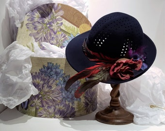 Adolfo II Hat, Sophisticated, Wool Hat, Haute Couture, Accessories, Kentucky Derby Hat, fashion, -by FairyLace Designs