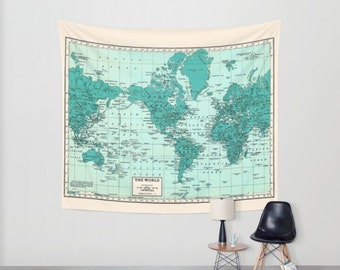 World Map Tapestry Wall Hanging world map tapestry wall hanging vintage mercator map blue