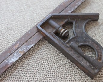 Vintage Metal Ruler and Sliding Level Tool, Antique Carpenter Tool