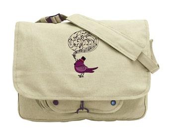 Victorian Songbird Embroidered Canvas Messenger Bag