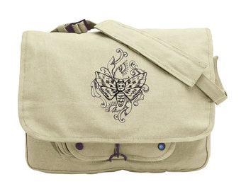 Toile Noir - Moth Embroidered Canvas Messenger Bag