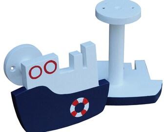 Ship Curtain Holdbacks - Navy and Red Nautical Curtain Tiebacks